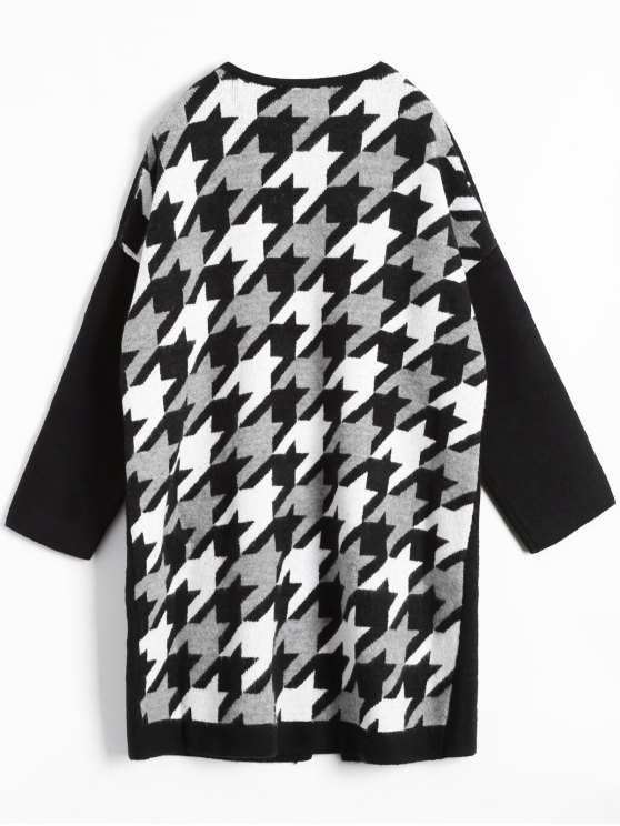 Houndstooth Back Long Cardigan - WHITE AND BLACK ONE SIZE Mobile
