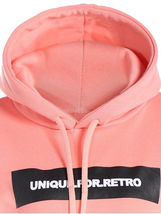 Drawstring Letter Loose Hoodie - PINK L Mobile