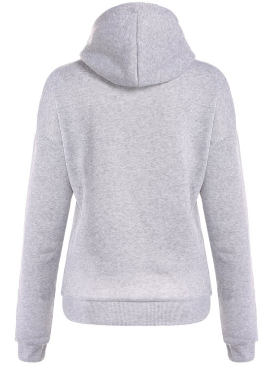 Drawstring Letter Loose Hoodie - LIGHT GRAY XL Mobile
