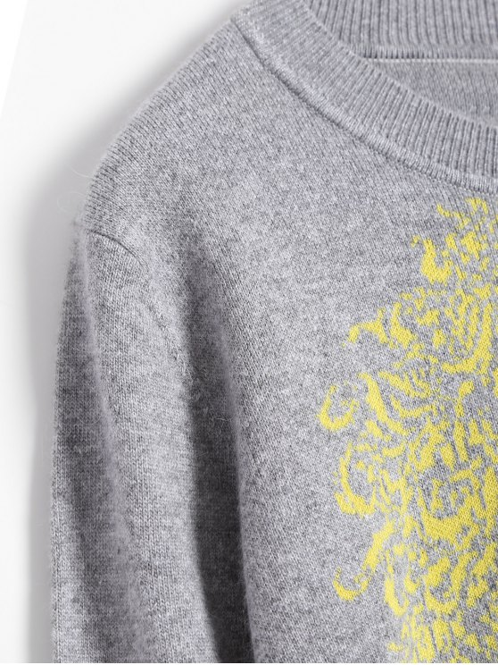 Horse Jacquard Pullover Sweater - GRAY ONE SIZE Mobile