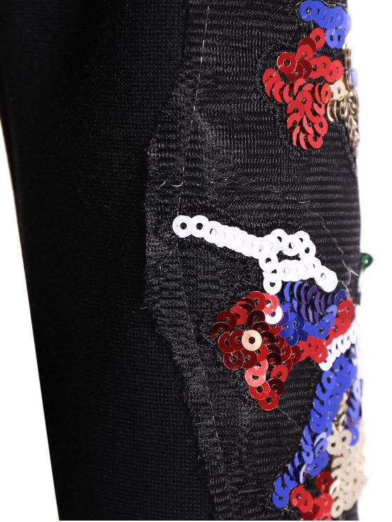 Round Collar Reindeer Print Sequin Sweatshirt - BLACK M Mobile
