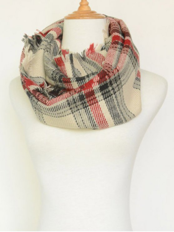 Plaid Pattern Fringed Cowl Scarf -   Mobile