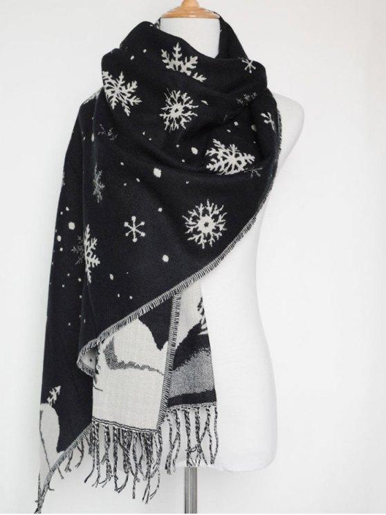 Christmas Snow Covered Landscape Tassel Scarf -   Mobile