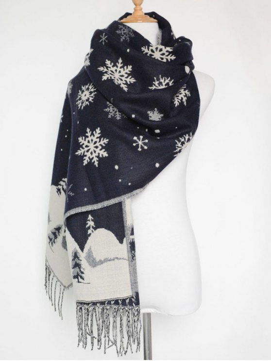 Christmas Snow Covered Landscape Tassel Scarf -   Mobile