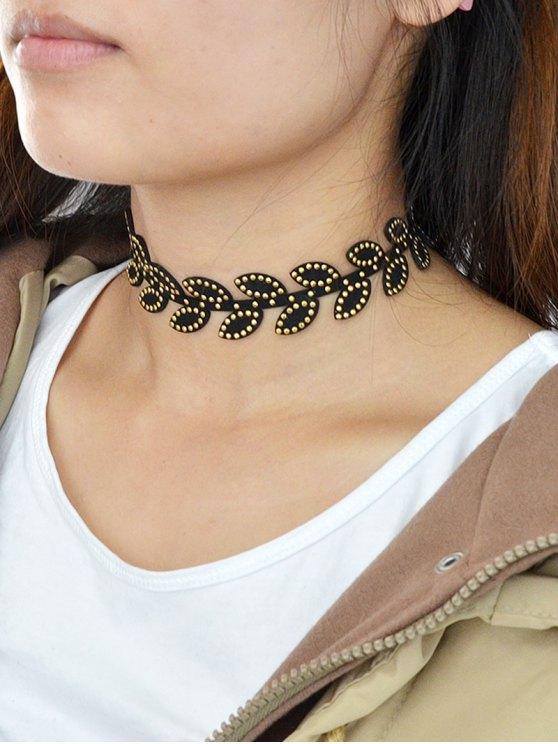 Rivet Leaf Choker Necklace - BLACK  Mobile