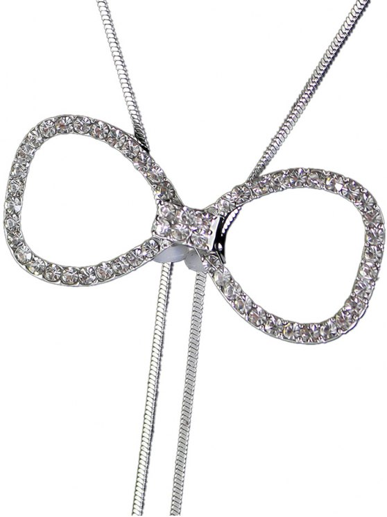 Rhinestone Bowknot Faux Pearl Necklace -   Mobile