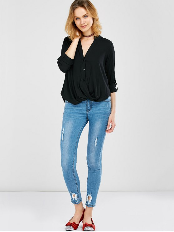 Oversized Asymmetrical Blouse - BLACK XL Mobile