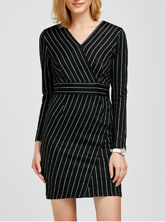 V Neck Long Sleeve Striped Bodycon Dress - BLACK XL Mobile