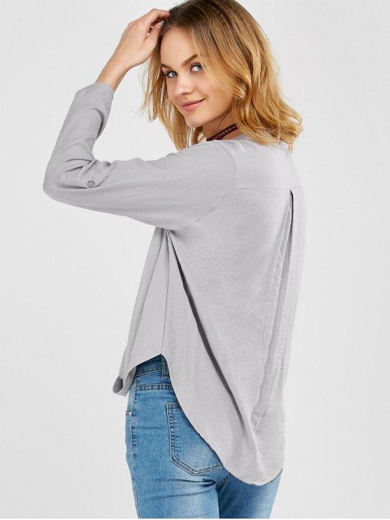 Oversized Asymmetrical Blouse - GRAY XL Mobile