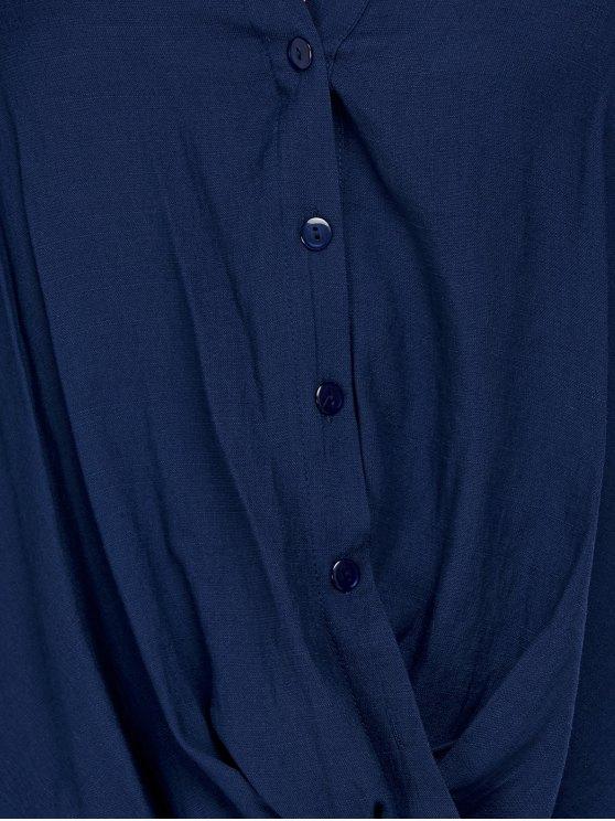 Oversized Asymmetrical Blouse - PURPLISH BLUE XL Mobile