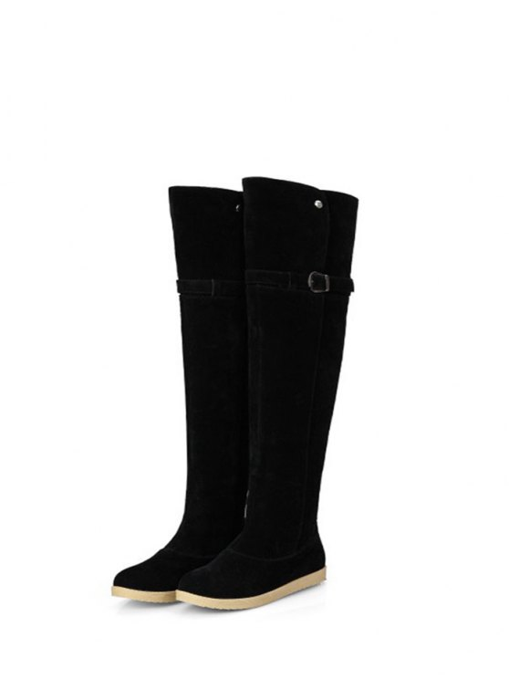 Buckle Strap Flat Heel Thigh Boots - BLACK 37 Mobile