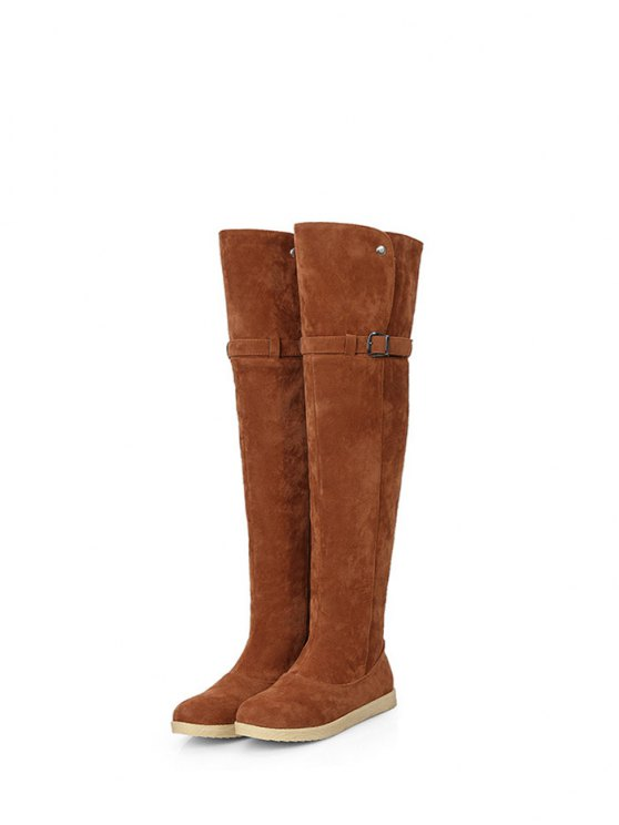 Buckle Strap Flat Heel Thigh Boots - BROWN 39 Mobile
