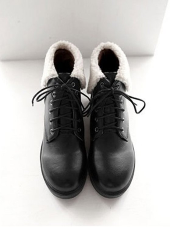 Lace Up Faux Shearling Insert Short Boots - BLACK 37 Mobile
