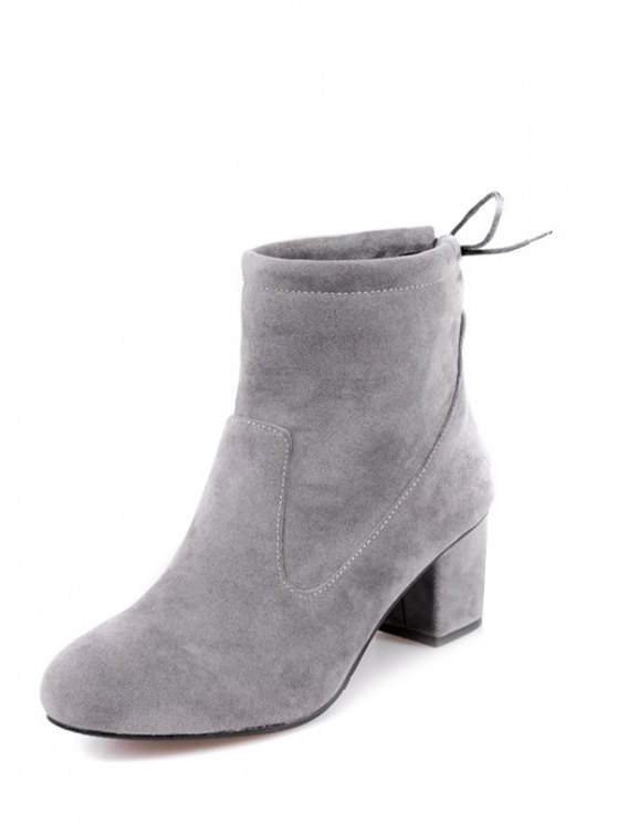 Chunky Heel Suede Short Boots - GRAY 39 Mobile