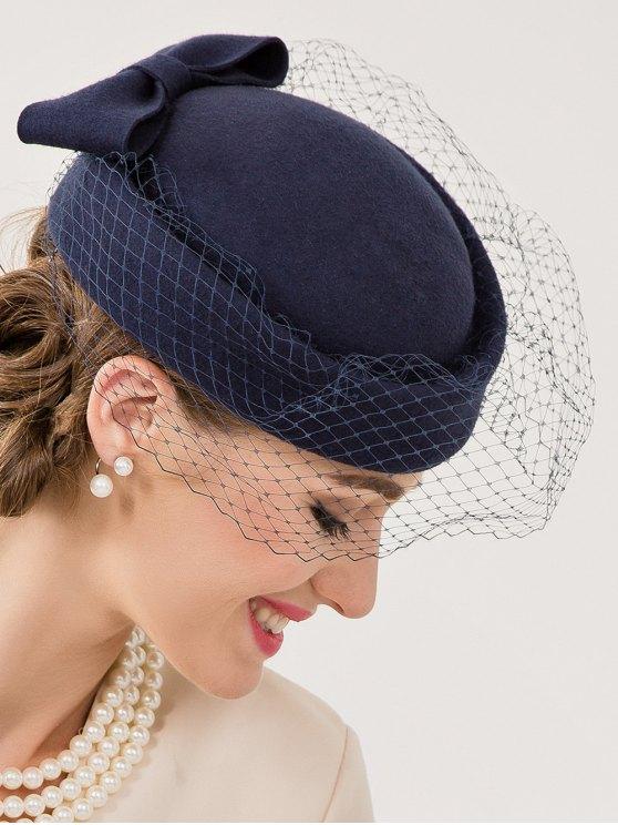 Bowknot and Veil Felt Pillbox Hat - DEEP BLUE  Mobile