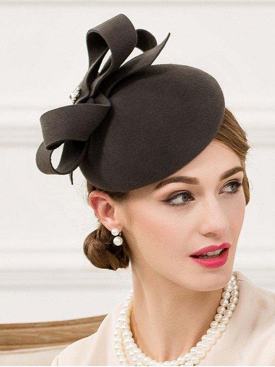 Hair Clip Wool Felt Pillbox Hat - BLACK GREY  Mobile