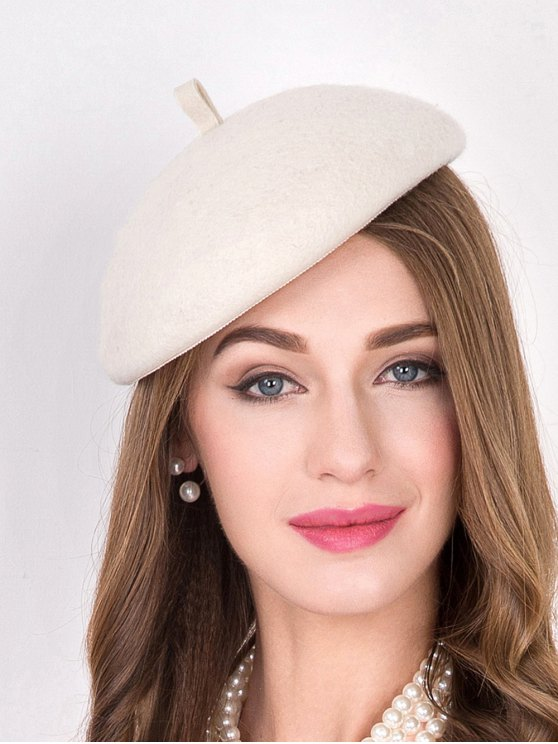 Wool Felt French Beret - OFF-WHITE  Mobile