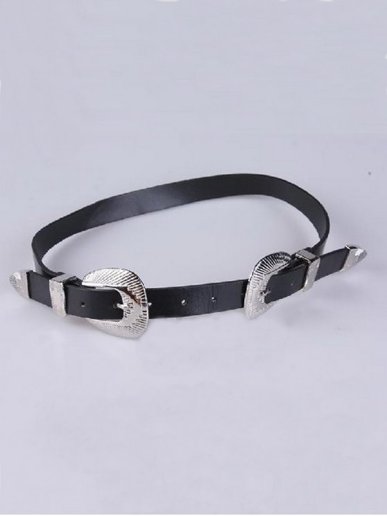 Double Shell Buckles PU Belt - BLACK  Mobile