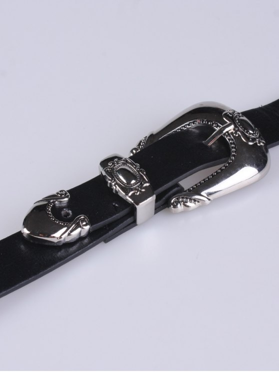 Double Carved Buckles PU Belt - BLACK  Mobile