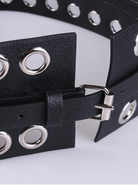 Hollow Circle Ring PU Belt - BLACK  Mobile