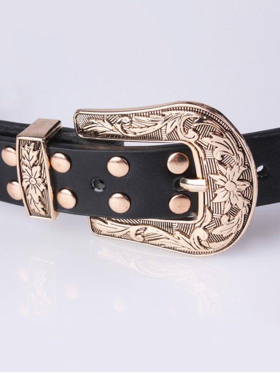Double Buckle Rivet PU Belt -   Mobile