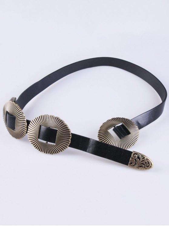 Triple Buckle PU Belt - BLACK  Mobile