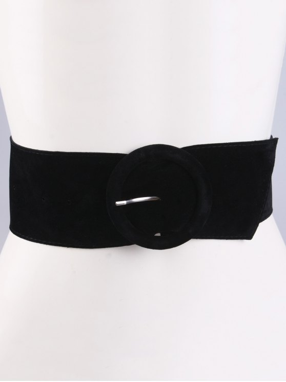 Round Buckle Wide Velvet Belt -   Mobile