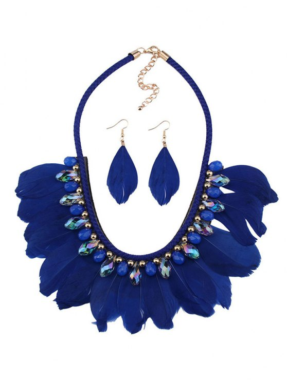 Artificial Gemstone Feather Necklace and Earrings -   Mobile