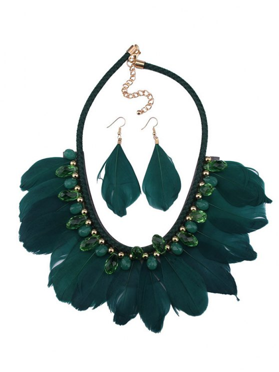 Artificial Gemstone Feather Necklace and Earrings - GREEN  Mobile