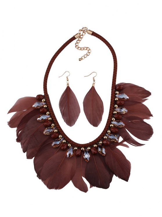 Artificial Gemstone Feather Necklace and Earrings - COFFEE  Mobile