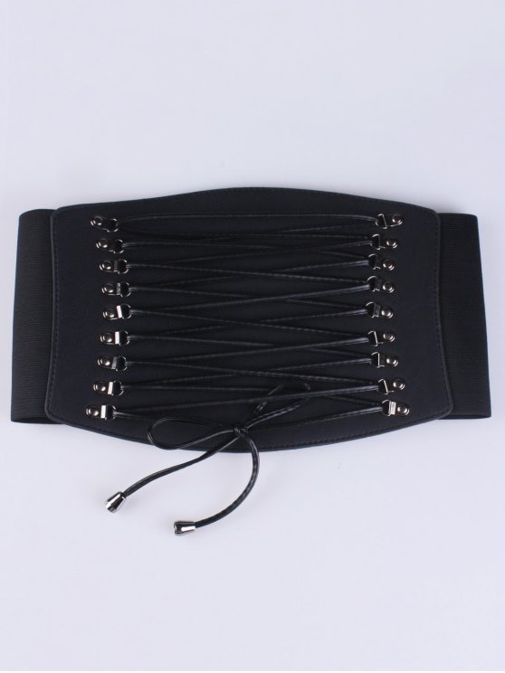 buy Criss Cross Elastic Corset Belt - BLACK