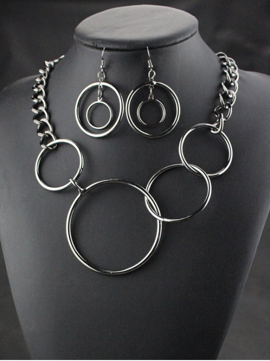 Circles Necklace with Earrings -   Mobile