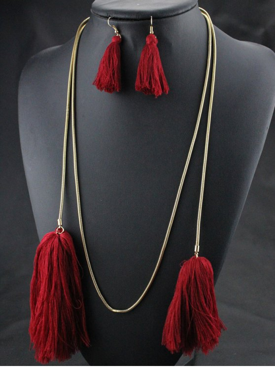 Tassel Necklace Drop Earrings and Bracelet - RED  Mobile