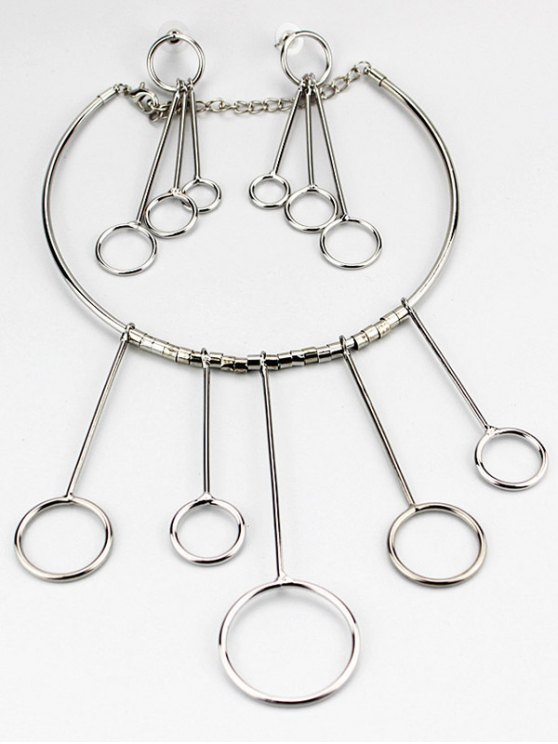 Circles Necklace with Drop Earrings -   Mobile