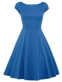 A Line Puffer Cap Sleep Prom Dress - Blue S