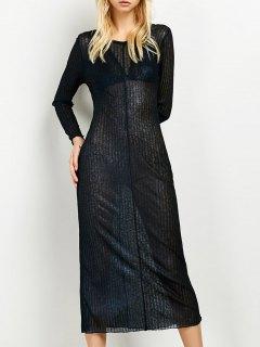 Shimmer Long Dress - Purplish Blue S