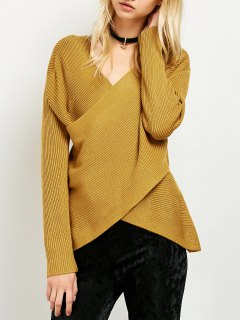 Wrap Ribbed Sweater - Yellow
