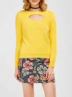 Cut Out Fluff Sweater With Flower Skirt - Yellow S