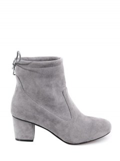 Chunky Heel Suede Short Boots - Gray 38
