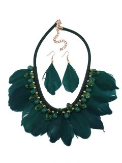 Artificial Gemstone Feather Necklace And Earrings - Green