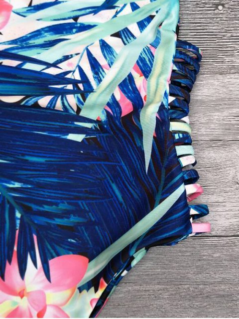 affordable Cut Out Tropical Print One-Piece Swimwear - BLUE M Mobile