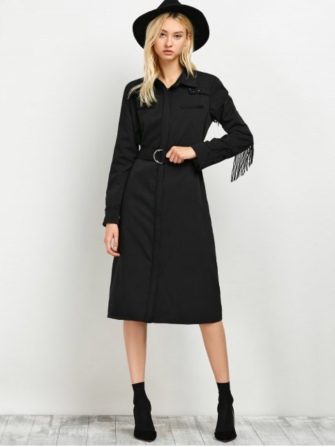 online Belted Fringed Shirt Dress - BLACK L Mobile