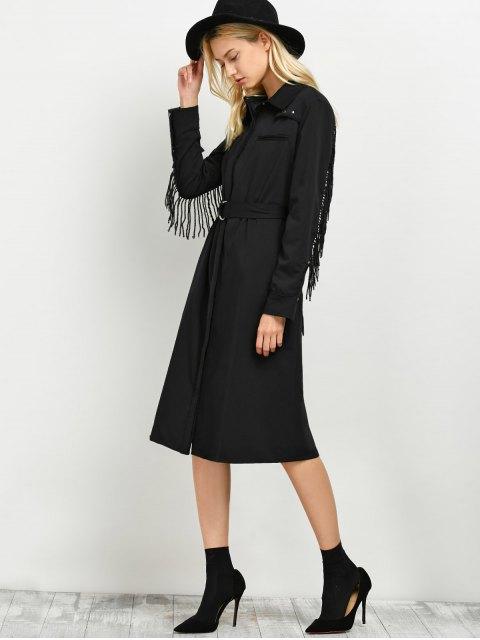 new Belted Fringed Shirt Dress - BLACK M Mobile