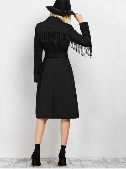 hot Belted Fringed Shirt Dress - BLACK S Mobile