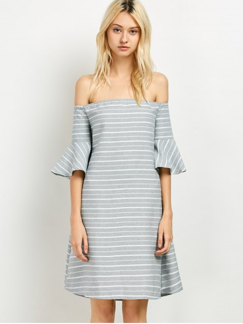 affordable Frilled Sleeve Striped Off The Shoulder Dress - GREY AND WHITE 2XL Mobile