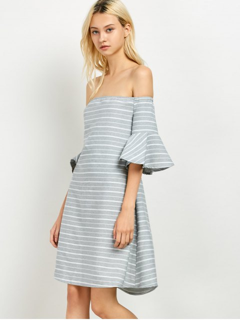 women Frilled Sleeve Striped Off The Shoulder Dress - GREY AND WHITE M Mobile
