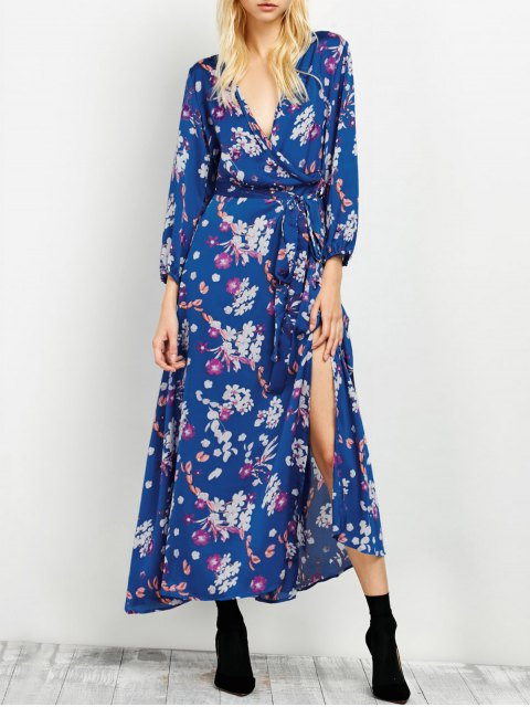 latest Low Cut Wrap Front Maxi Floral Dress - BLUE XL Mobile
