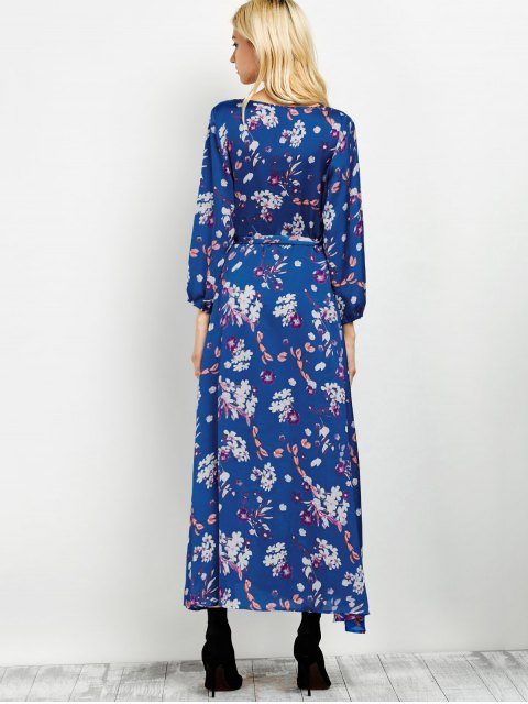 trendy Low Cut Wrap Front Maxi Floral Dress - BLUE L Mobile