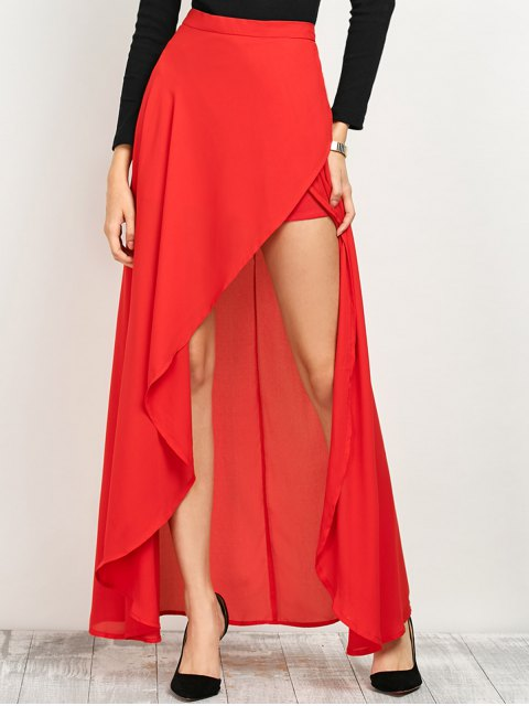 lady High Low Hem Long Skirt - RED M Mobile