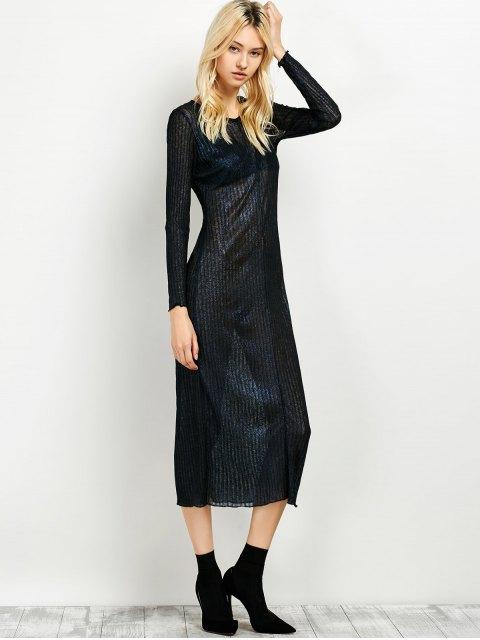 trendy Shimmer Long Dress - PURPLISH BLUE 2XL Mobile